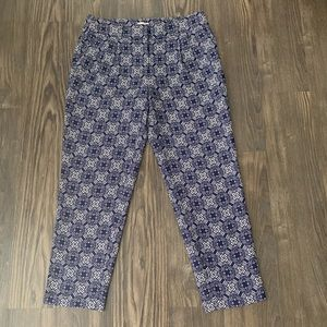 J. Crew Navy and White Pleated Trouser Pants